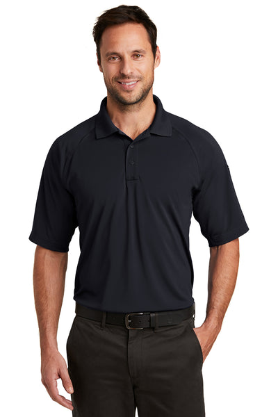 CornerStone CS420 Mens Select Tactical Moisture Wicking Short Sleeve Polo Shirt Navy Blue Front