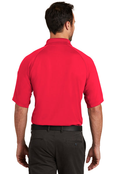 CornerStone CS420 Mens Select Tactical Moisture Wicking Short Sleeve Polo Shirt Red Back