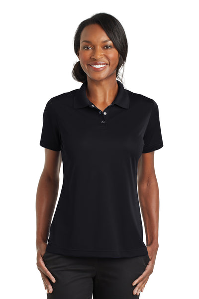 CornerStone CS422 Womens Gripper Moisture Wicking Short Sleeve Polo Shirt Black Front