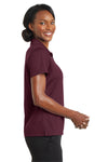 CornerStone CS422 Womens Gripper Moisture Wicking Short Sleeve Polo Shirt Maroon Side