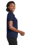 CornerStone CS422 Womens Gripper Moisture Wicking Short Sleeve Polo Shirt Navy Blue Side