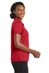 CornerStone CS422 Womens Gripper Moisture Wicking Short Sleeve Polo Shirt Red Side