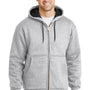 CornerStone Mens Heather Grey Full Zip Hooded Sweatshirt Hoodie