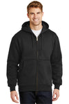 CornerStone CS620 Mens Full Zip Hooded Sweatshirt Hoodie Black Front