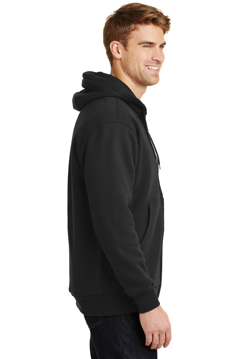 CornerStone CS620 Mens Full Zip Hooded Sweatshirt Hoodie Black Side
