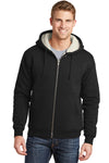 CornerStone CS625 Mens Water Resistant Fleece Full Zip Hooded Sweatshirt Hoodie Black Front
