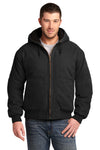 CornerStone CSJ41 Mens Duck Cloth Full Zip Hooded Jacket Black Front