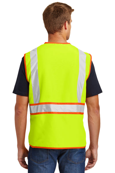 CornerStone CSV407 Mens ANSI 107 Class 2 Safety Full Zip Vest Safety Yellow Back