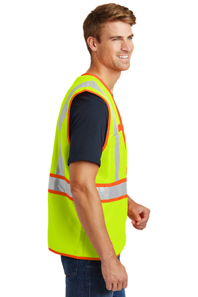 CornerStone CSV407 Mens ANSI 107 Class 2 Safety Full Zip Vest Safety Yellow Side