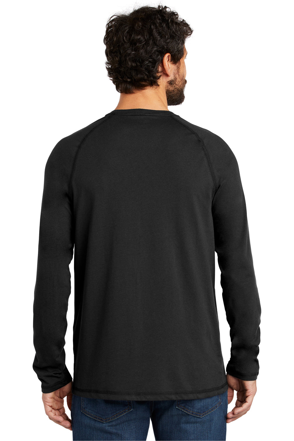 Carhartt CT100393 Mens Delmont Moisture Wicking Long Sleeve Crewneck T-Shirt w/ Pocket Black Back
