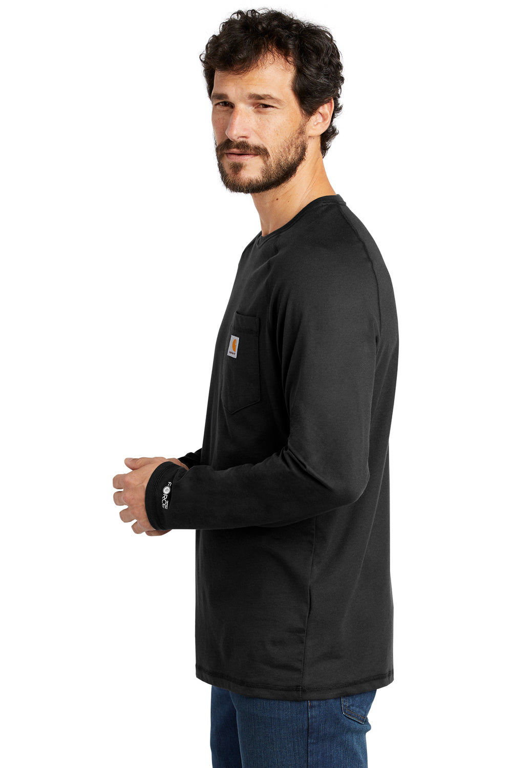 Carhartt CT100393 Mens Delmont Moisture Wicking Long Sleeve Crewneck T-Shirt w/ Pocket Black Side
