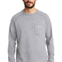 Carhartt Mens Delmont Moisture Wicking Long Sleeve Crewneck T-Shirt w/ Pocket - Heather Grey