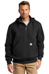 Carhartt CT100617 Mens Paxton Rain Defender Water Resistant 1/4 Zip Hooded Sweatshirt Hoodie Black Front