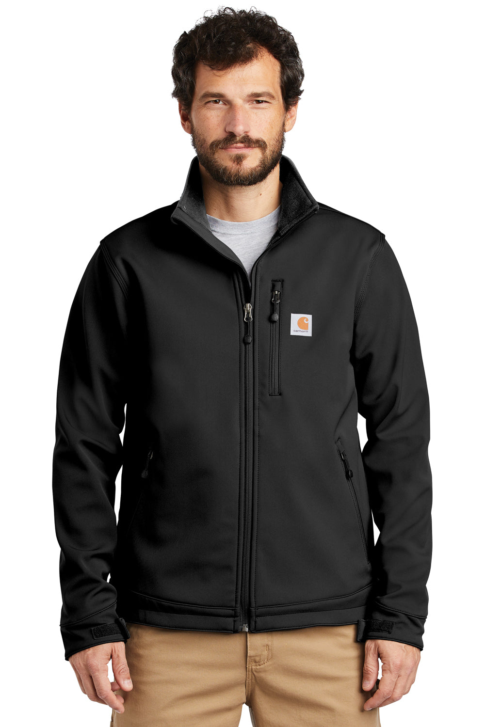 Carhartt CT102199 Mens Crowley Wind & Water Resistant Full Zip Jacket Black Front