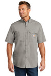 Carhartt CT102417 Mens Force Ridgefield Moisture Wicking Short Sleeve Button Down Shirt w/ Double Pockets Asphalt Grey Front