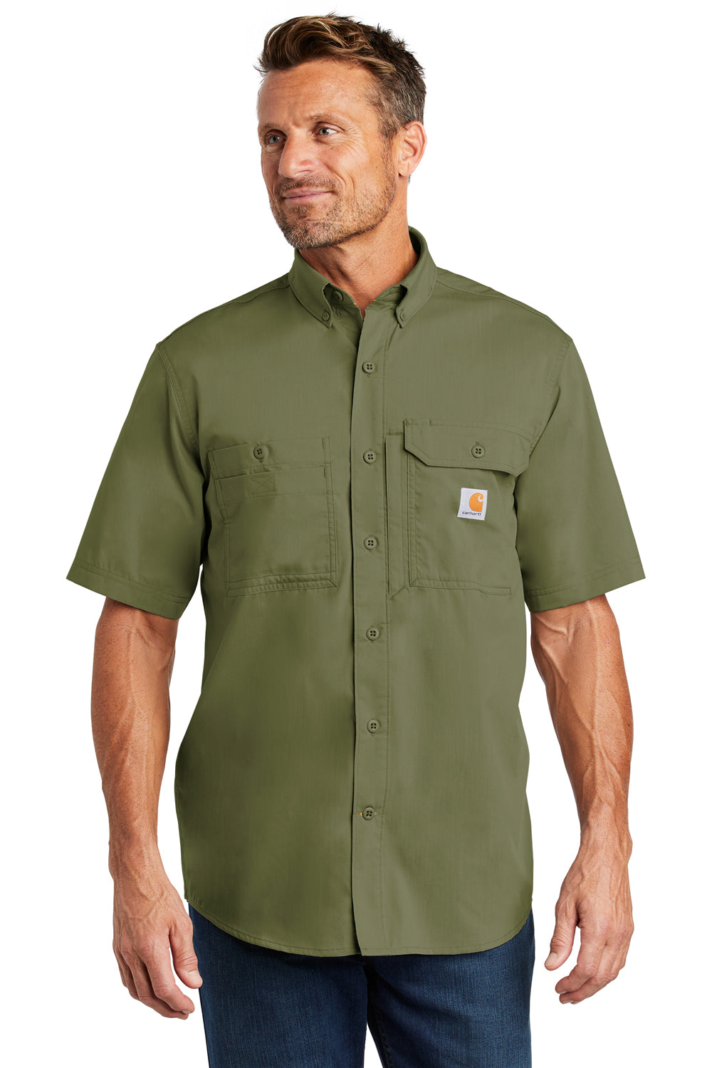 Carhartt CT102417 Mens Force Ridgefield Moisture Wicking Short Sleeve Button Down Shirt w/ Double Pockets Olive Green Front