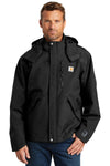 Carhartt CTJ162 Mens Shoreline Waterproof Full Zip Hooded Jacket Black Front