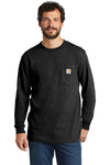 Carhartt CTK126 Mens Workwear Long Sleeve Crewneck T-Shirt w/ Pocket Black Front