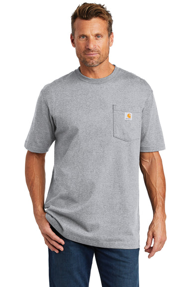 Carhartt CTK87 Mens Workwear Short Sleeve Crewneck T-Shirt w/ Pocket Heather Grey Front