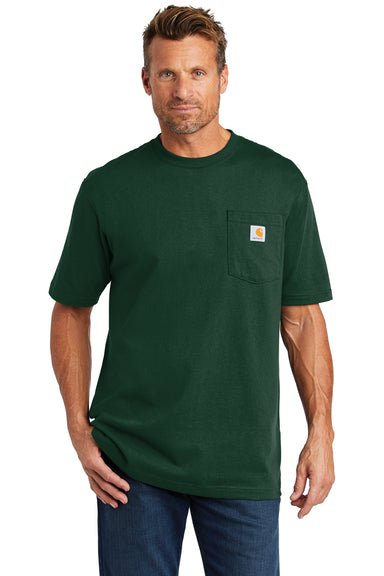 Carhartt CTK87 Mens Workwear Short Sleeve Crewneck T-Shirt w/ Pocket Hunter Green Front