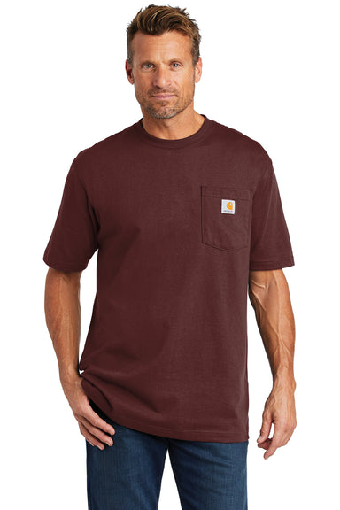 Carhartt CTK87 Mens Workwear Short Sleeve Crewneck T-Shirt w/ Pocket Port Red Front