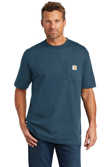 Carhartt CTK87 Mens Workwear Short Sleeve Crewneck T-Shirt w/ Pocket Stream Blue Front