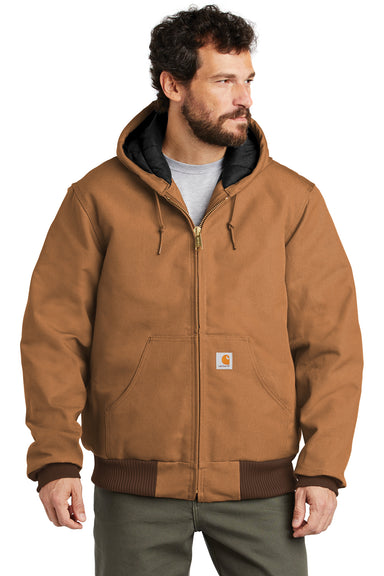 Carhartt CTSJ140 Mens Wind & Water Resistant Duck Cloth Full Zip Hooded Work Jacket Carhartt Brown Front