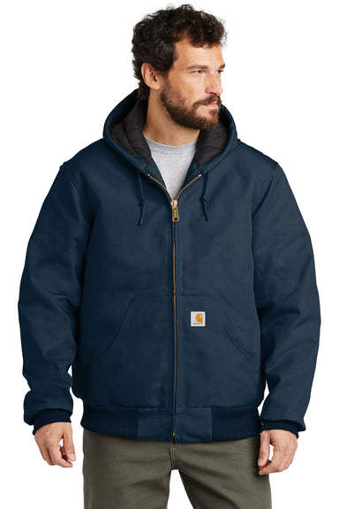 Carhartt CTSJ140 Mens Wind & Water Resistant Duck Cloth Full Zip Hooded Work Jacket Navy Blue Front