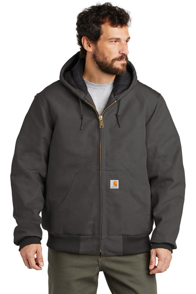 Carhartt CTSJ140 Mens Wind & Water Resistant Duck Cloth Full Zip Hooded Work Jacket Gravel Grey Front
