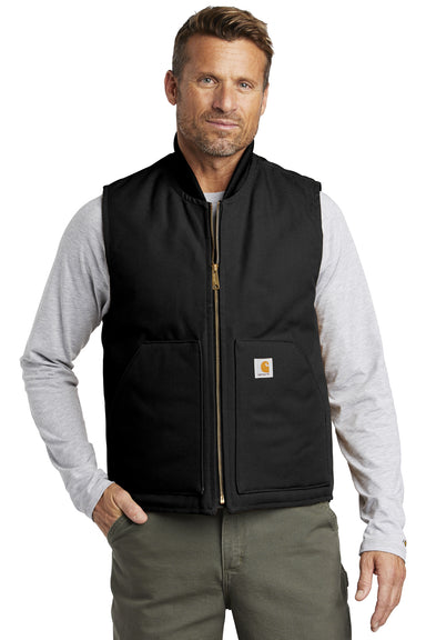 Carhartt CTV01 Mens Wind & Water Resistant Duck Cloth Full Zip Vest Black Front