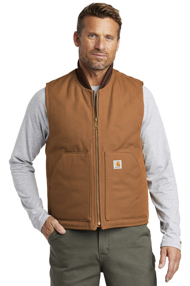 Carhartt CTV01 Mens Wind & Water Resistant Duck Cloth Full Zip Vest Carhartt Brown Front