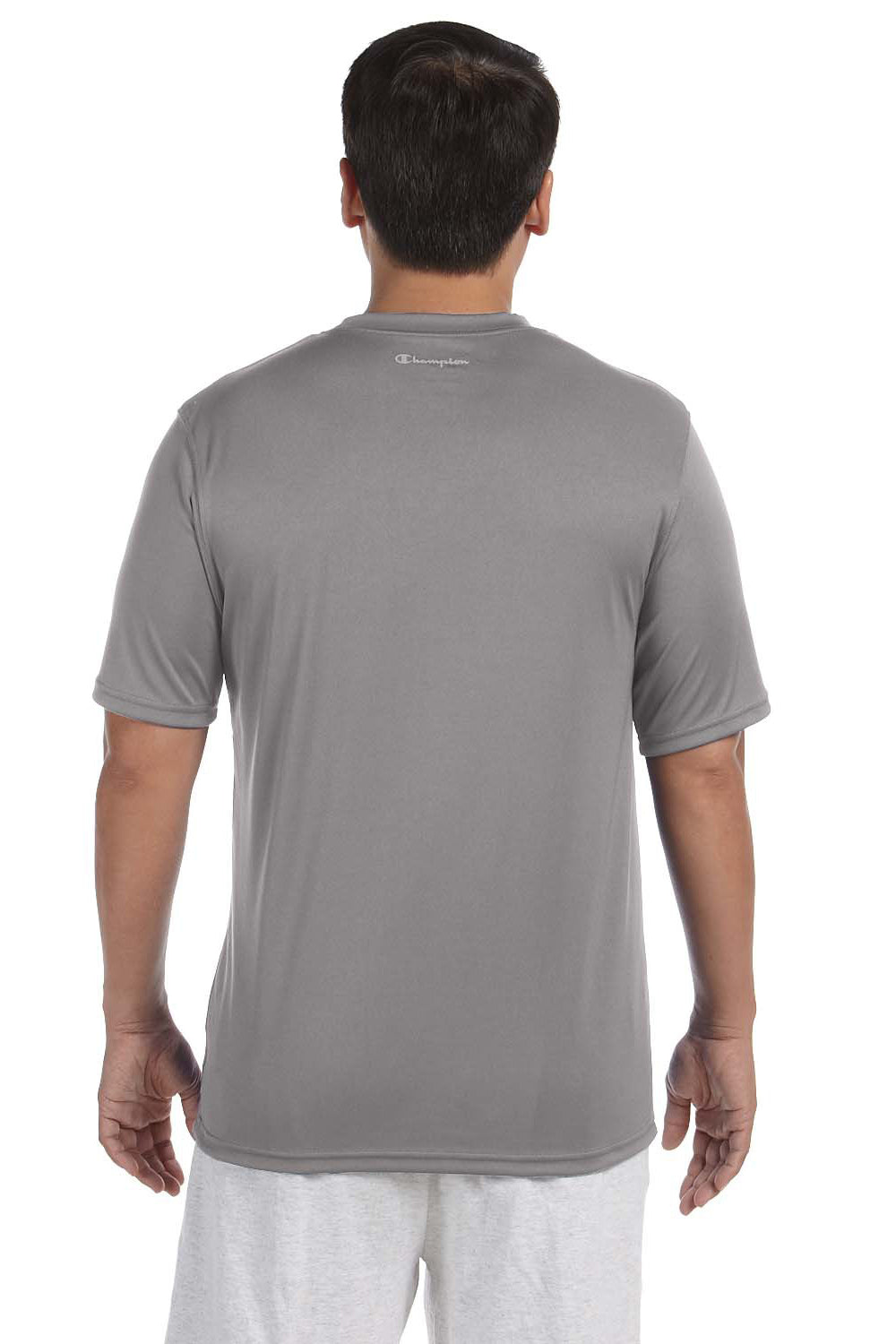 Champion CW22 Mens Double Dry Moisture Wicking Short Sleeve Crewneck T-Shirt Stone Grey Back