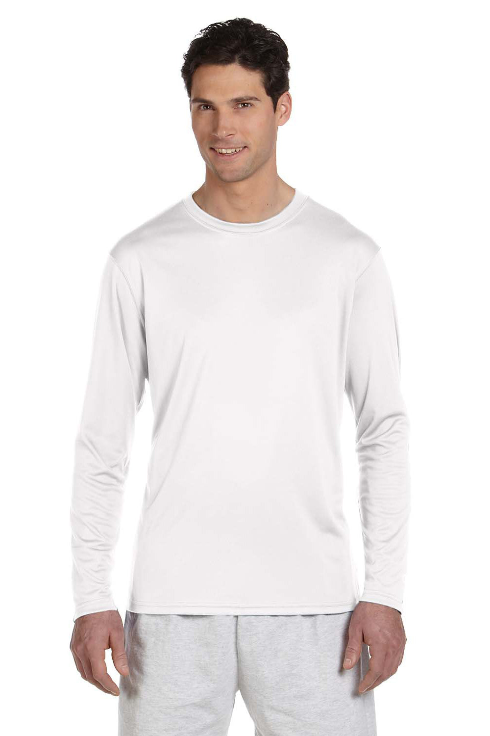 Champion CW26 Mens Double Dry Moisture Wicking Long Sleeve Crewneck T-Shirt White Front