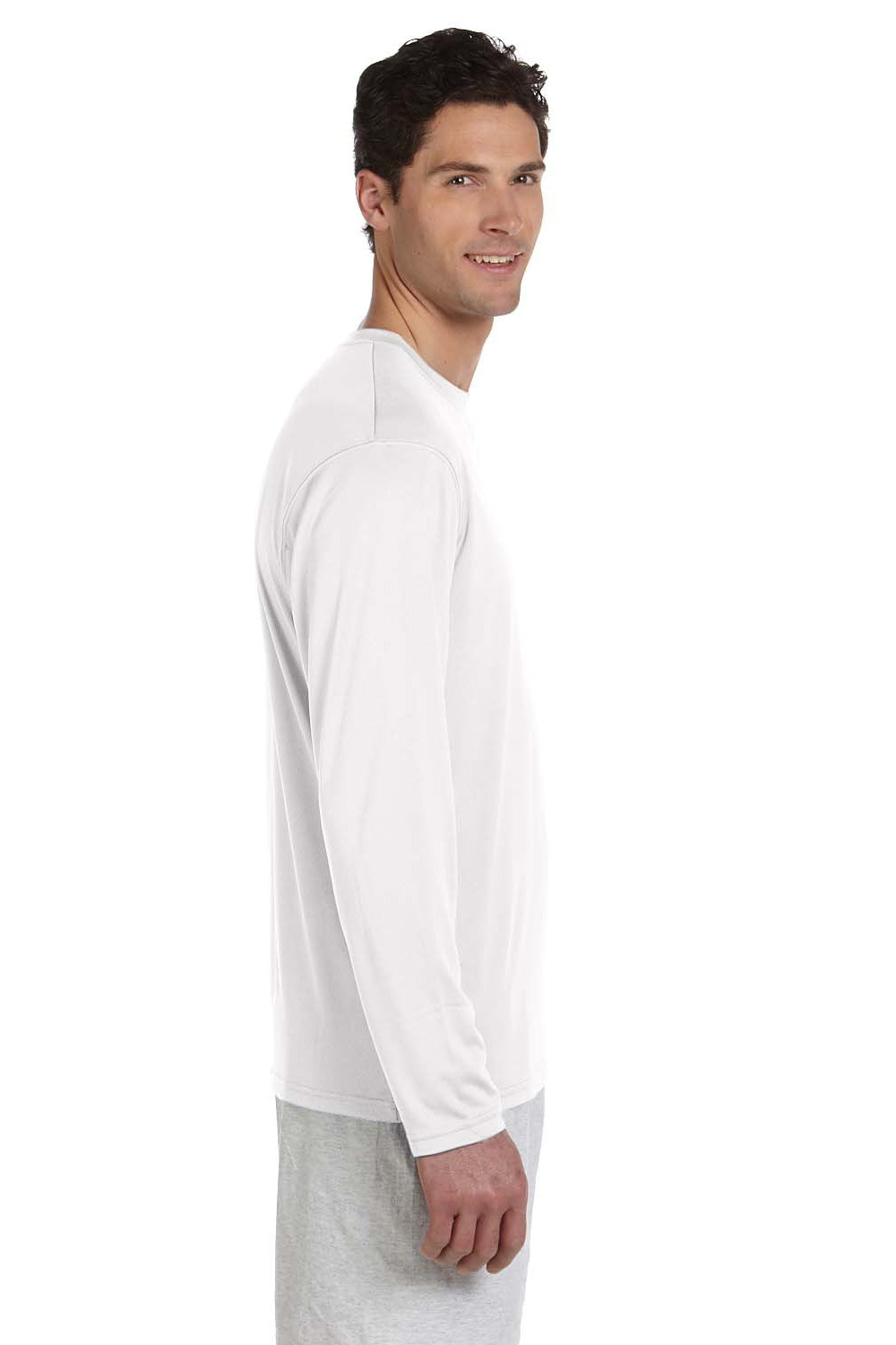 Champion CW26 Mens Double Dry Moisture Wicking Long Sleeve Crewneck T-Shirt White Side