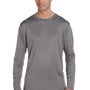 Champion Mens Double Dry Moisture Wicking Long Sleeve Crewneck T-Shirt - Stone Grey