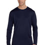 Champion Mens Double Dry Moisture Wicking Long Sleeve Crewneck T-Shirt - Navy Blue