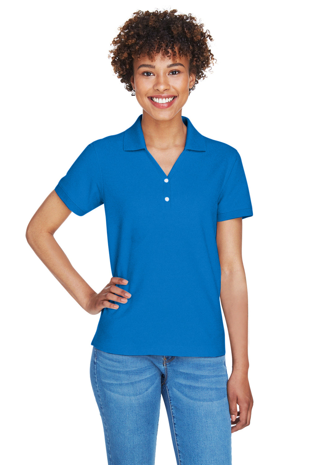 Devon & Jones D100W Womens Short Sleeve Polo Shirt Royal Blue Front