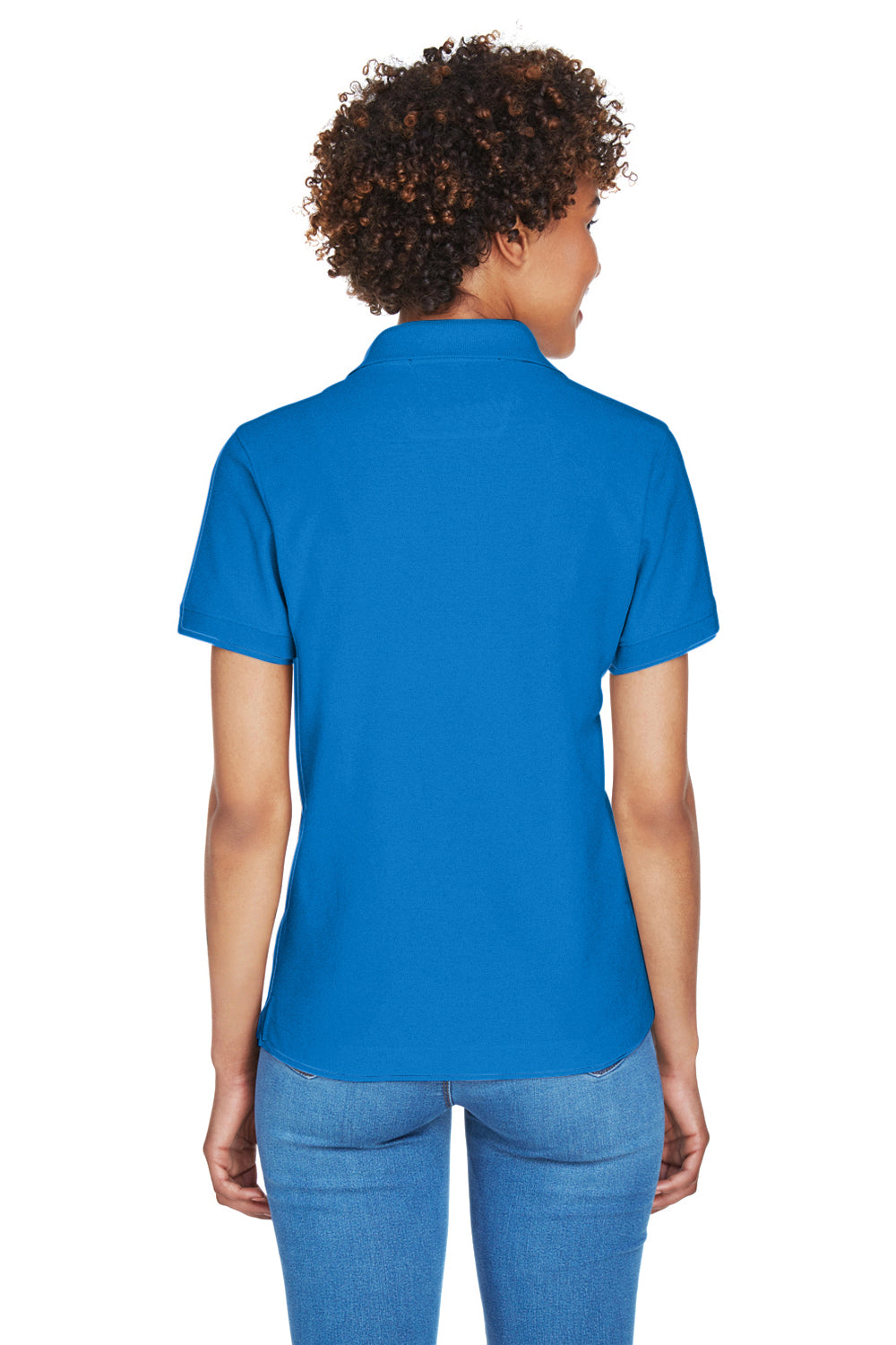 Devon & Jones D100W Womens Short Sleeve Polo Shirt Royal Blue Back