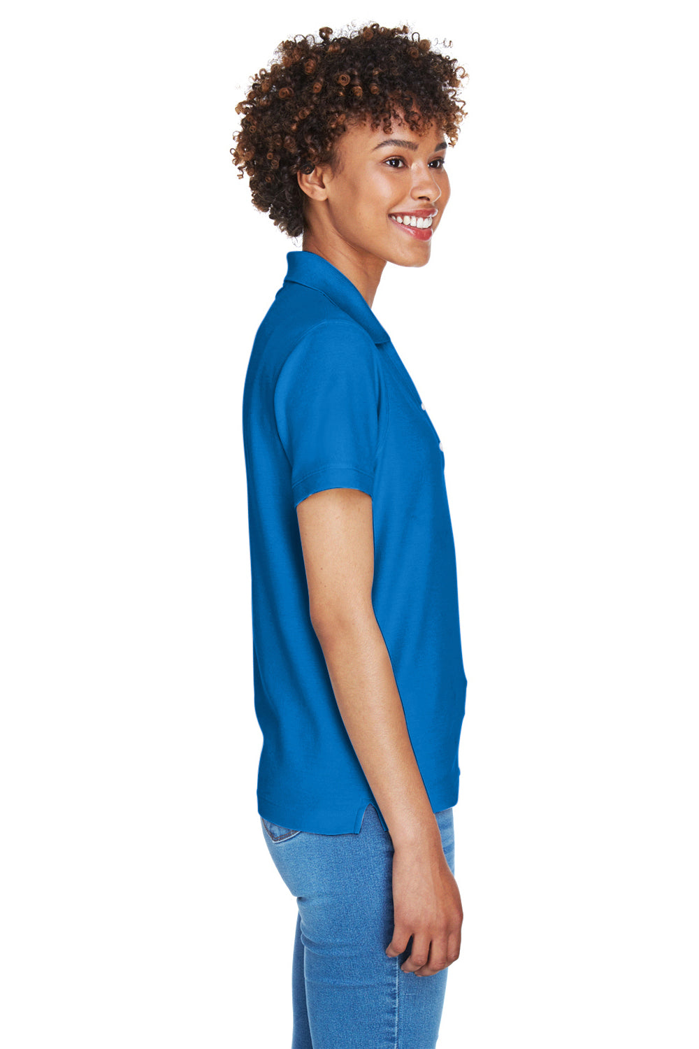 Devon & Jones D100W Womens Short Sleeve Polo Shirt Royal Blue Side