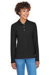 Devon & Jones D110W Womens Long Sleeve Polo Shirt Black Front