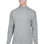 Devon & Jones Mens Sueded Jersey Long Sleeve Mock Neck T-Shirt - Heather Grey