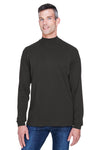 Devon & Jones D420 Mens Sueded Jersey Long Sleeve Mock Neck T-Shirt Black Front