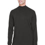 Devon & Jones Mens Sueded Jersey Long Sleeve Mock Neck T-Shirt - Black