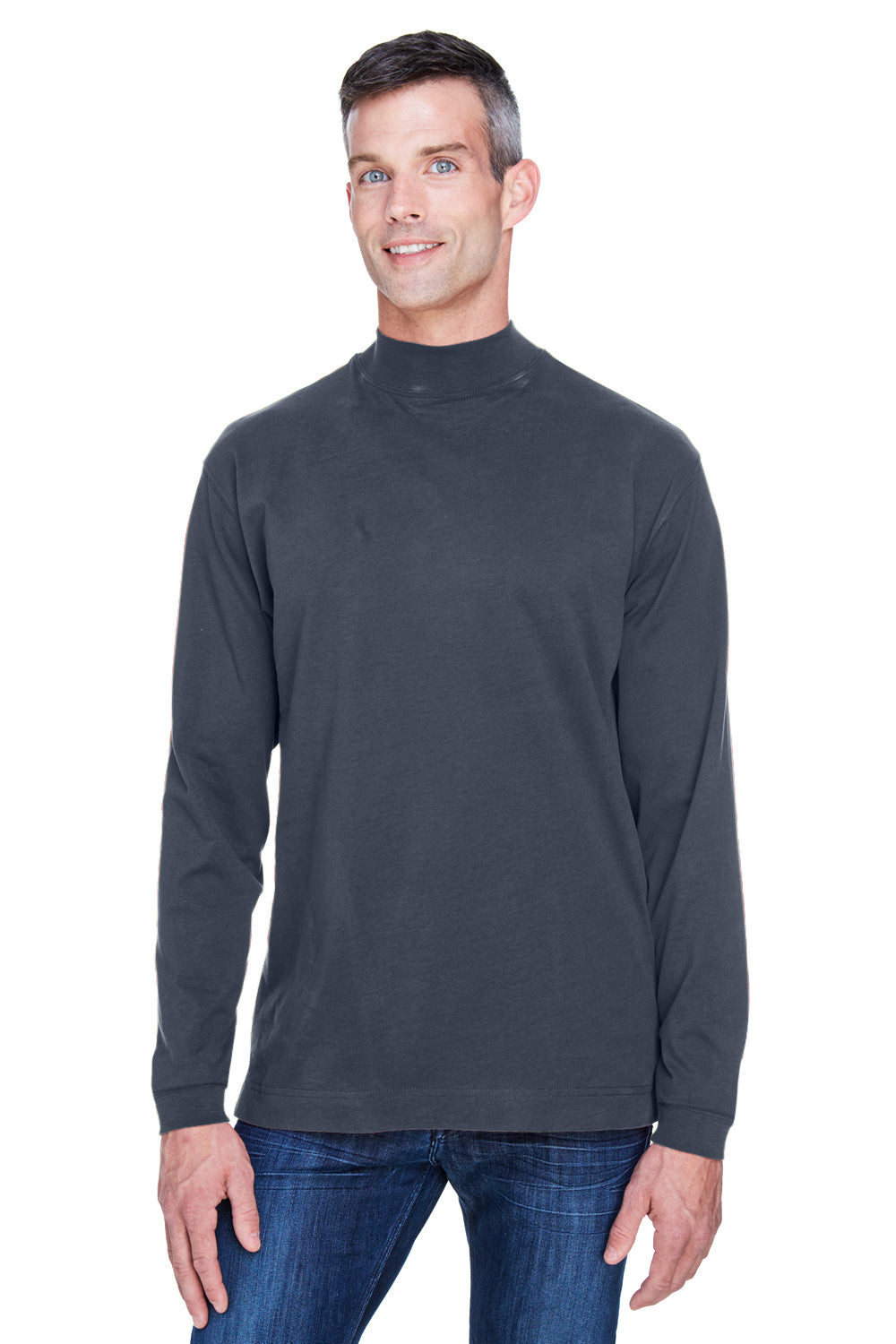 Devon & Jones D420 Mens Sueded Jersey Long Sleeve Mock Neck T-Shirt Navy Blue Front