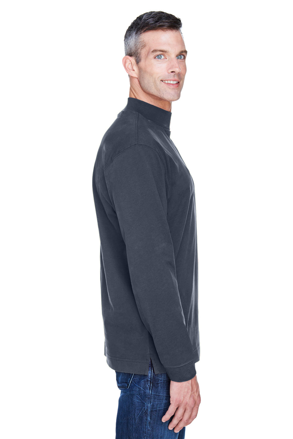 Devon & Jones D420 Mens Sueded Jersey Long Sleeve Mock Neck T-Shirt Navy Blue Side