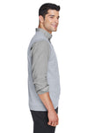 Devon & Jones D477 Mens Wrinkle Resistant V-Neck Sweater Vest Heather Grey Side