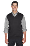 Devon & Jones D477 Mens Wrinkle Resistant V-Neck Sweater Vest Black Front