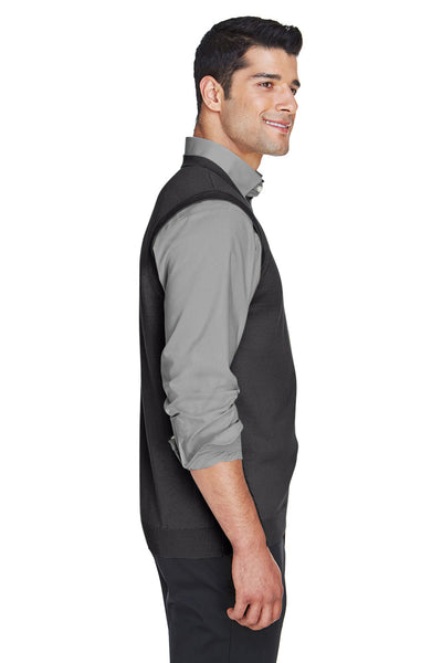 Devon & Jones D477 Mens Wrinkle Resistant V-Neck Sweater Vest Black Side