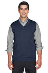 Devon & Jones D477 Mens Wrinkle Resistant V-Neck Sweater Vest Navy Blue Front