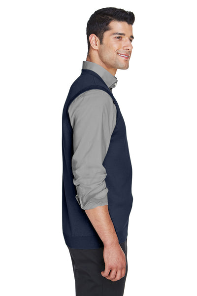 Devon & Jones D477 Mens Wrinkle Resistant V-Neck Sweater Vest Navy Blue Side